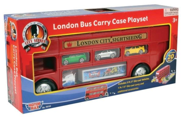 London Bus Carry Case Playset with Cars and Accessories.